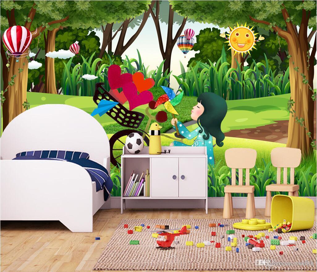 3d wallpaper benutzerdefinierte foto vlies wandbild Schöne wald wald wiese landschaft kinderzimmer kinderzimmer tapete für wände 3