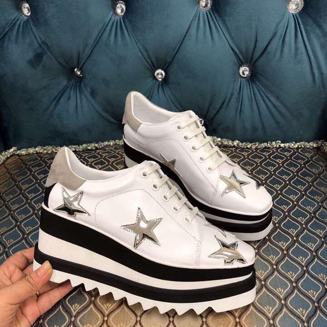 zapatos reales! Flatform zapatos de cuero genuinos Stella Britt Zapatos Elyse cepillado Casual Plataforma Derbys cuña Zapatos planos 2019 nuevos con la caja
