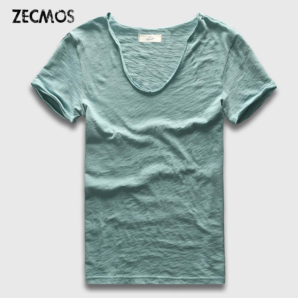 Zecmos marca uomo t-shirt pianura hip hop moda casual xxxl scollo av camicia swag per uomo manica corta uomo top tees c19041702