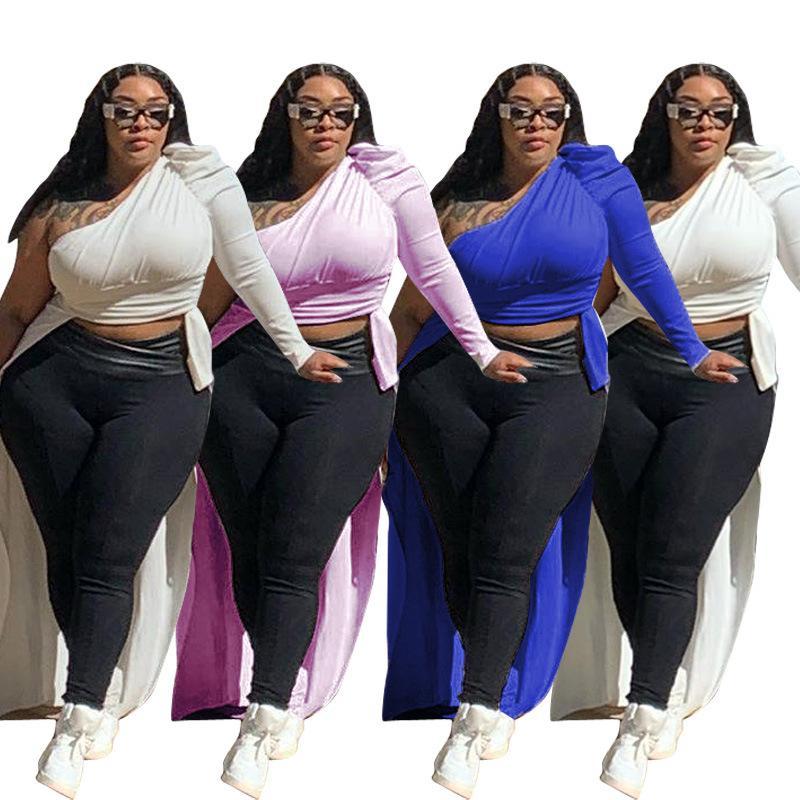 Plus Size L-4XL femmes Hauts obliquité Col une épaule solide Fashion Casual Top Night Club irrégulier T-shirt DM169