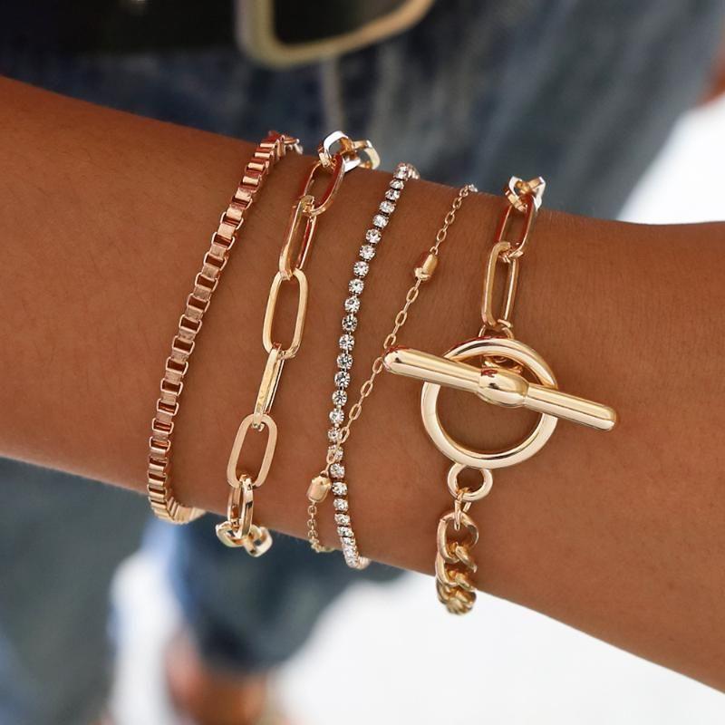 Sindlan 5PCs Easy Hook Fashion Crystal Bracelets for Women Gold Wrist Chain Bracelets Set Female Boho Statement Bracelet Jewelry
