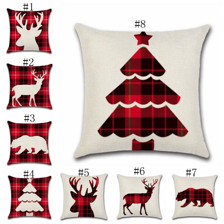 Christmas Pillow Covers Plaid Reindeer Throw Pillows Elk Decorative Pillow Case Office Sofa Cushion Home Decor 8 Designs Yw1716 Discount Patio