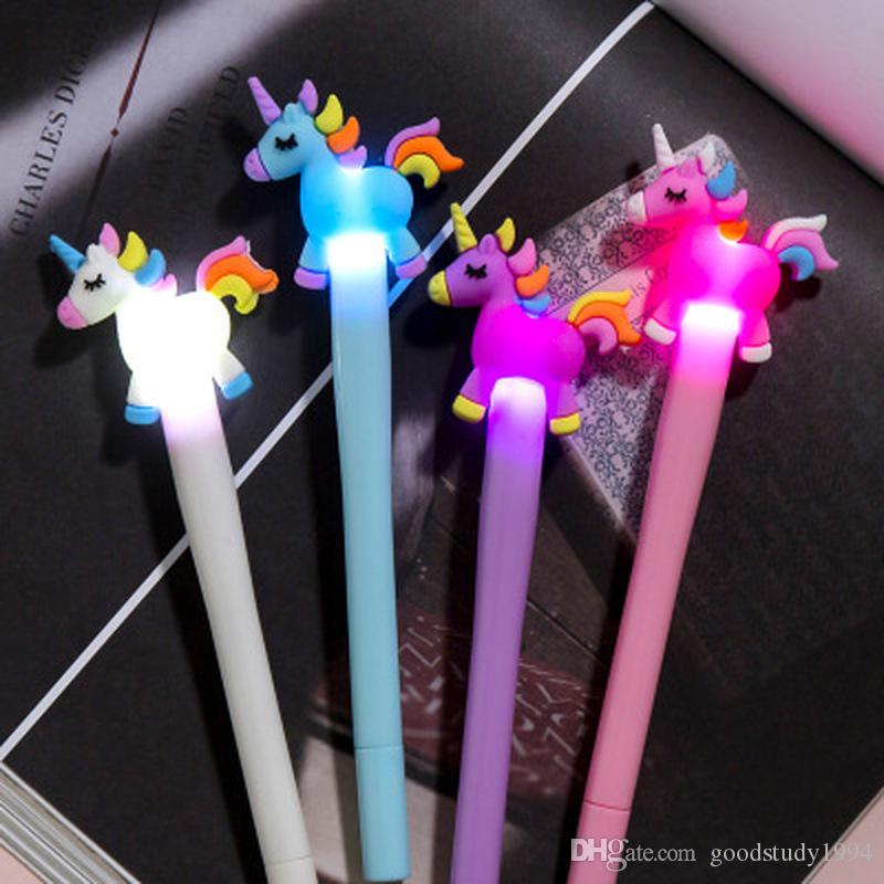 16 Style Creative Cute Cartoon Unicorn Light Pen LED Lights Silica Head Gel Pen 0.5mm Office School Supplies Stationery Student Gift