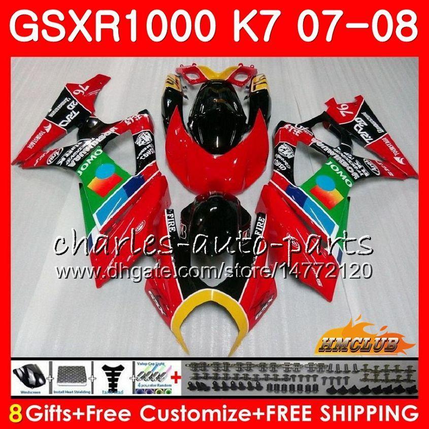 Corpo para Suzuki GSXR-1000 GSX-R1000 GSXR1000 07 08 Jomo Red stock Bodywork 12HC.4 GSX R1000 07 08 K7 GSXR 1000 2007 2008