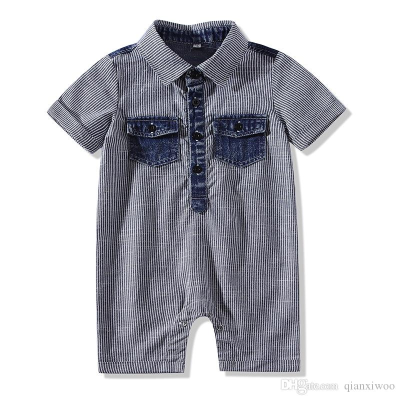 New Summer Baby Boys Rompers Short Sleeve Kids Stripe Climb Clothes Gentleman Onesies Jumpers Child Rompers Gray W388