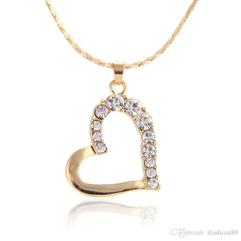 tout nouvel amour collier en or jaune marque Livraison gratuite collier en cristal bijoux jaunir GN512 mode de pierres précieuses cadeau de Noël