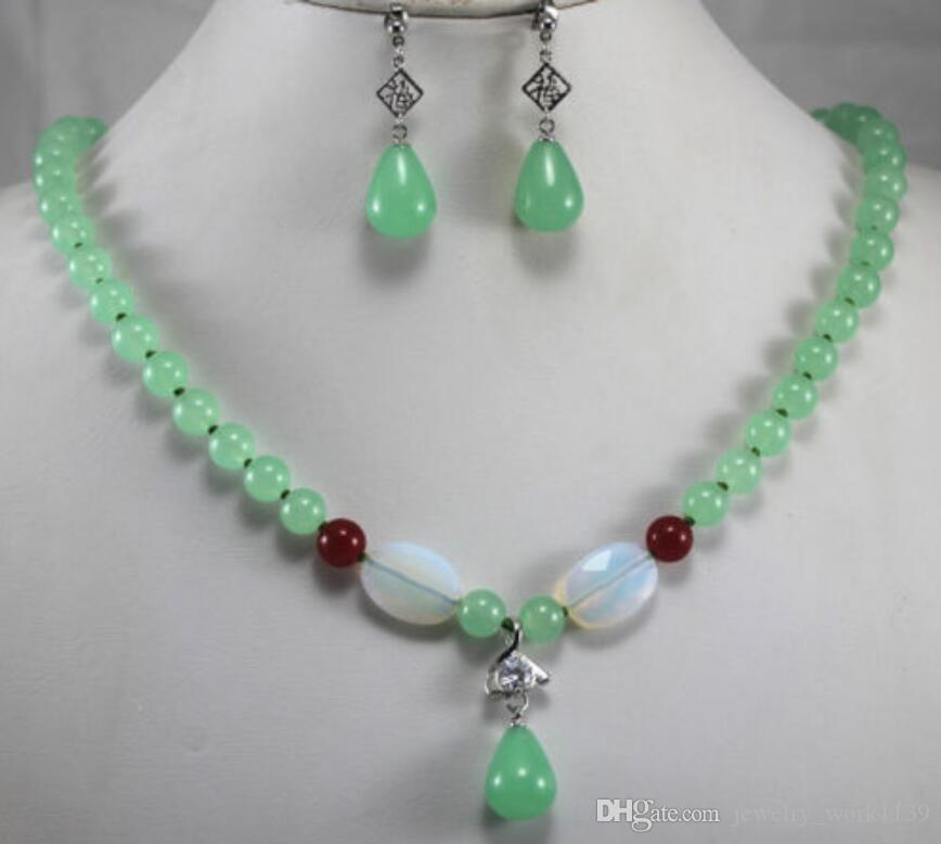 Conjunto de joyas collar de New Green Jade pendiente del collar colgante