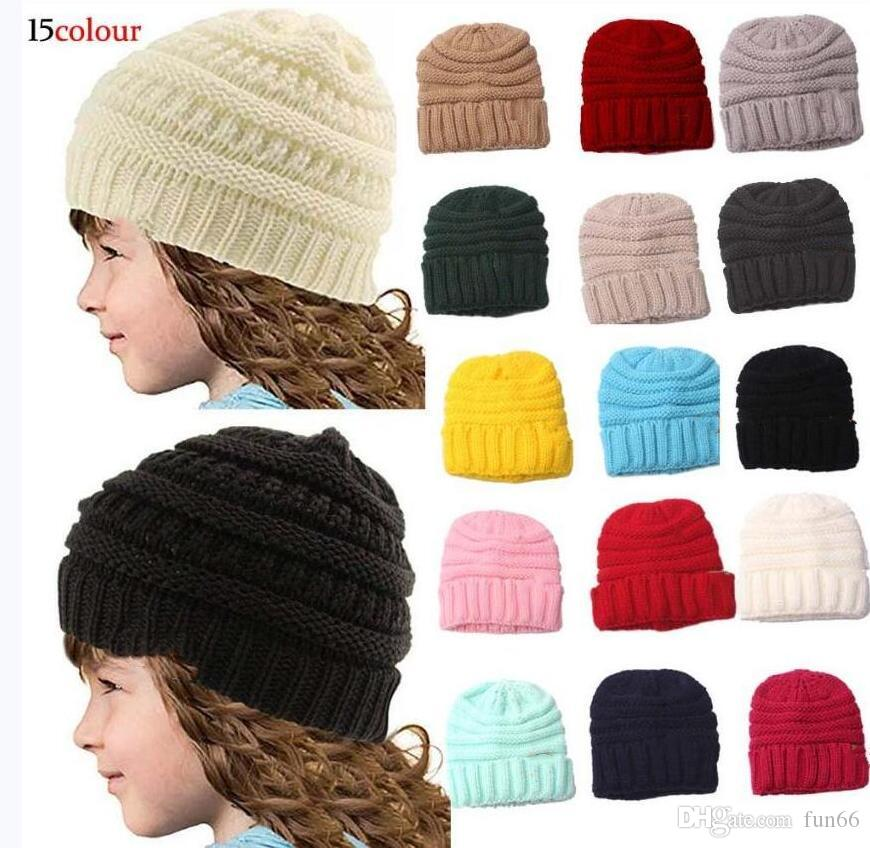New Trendy Kids Beanies Crochet Caps 15 COLOR Kids Knitted Winter Warm Beanies Caps Baby Crochet Hats Outdoor Kids Stretchy Beanie Caps 1-4Y