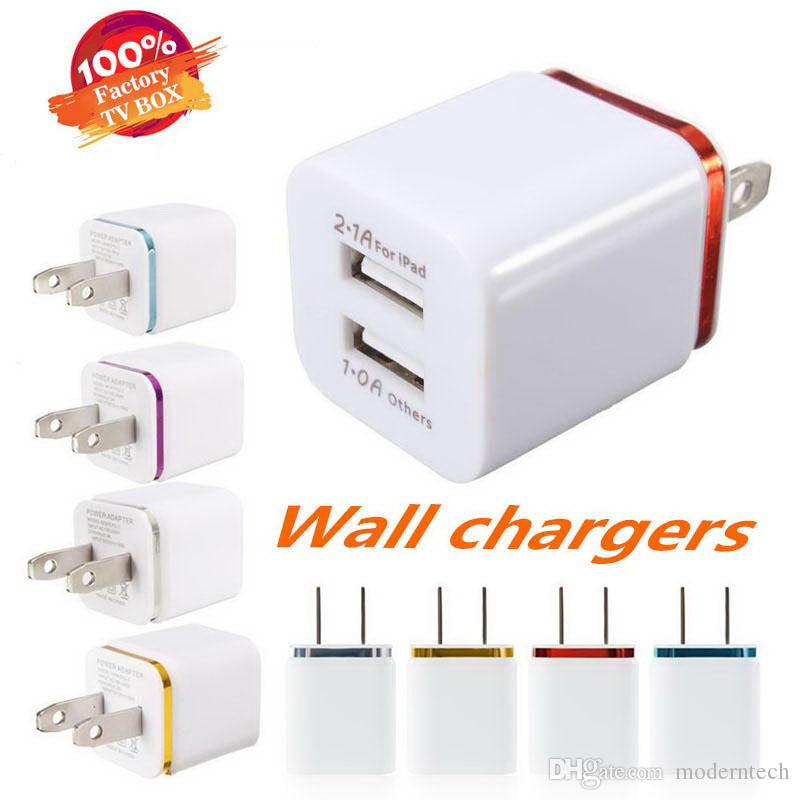 Best Price 5V 2.1+1A Double USB AC Travel US Wall Charger Plug Dual Charger For Samsung Galaxy HTC Smart Phone Adapter