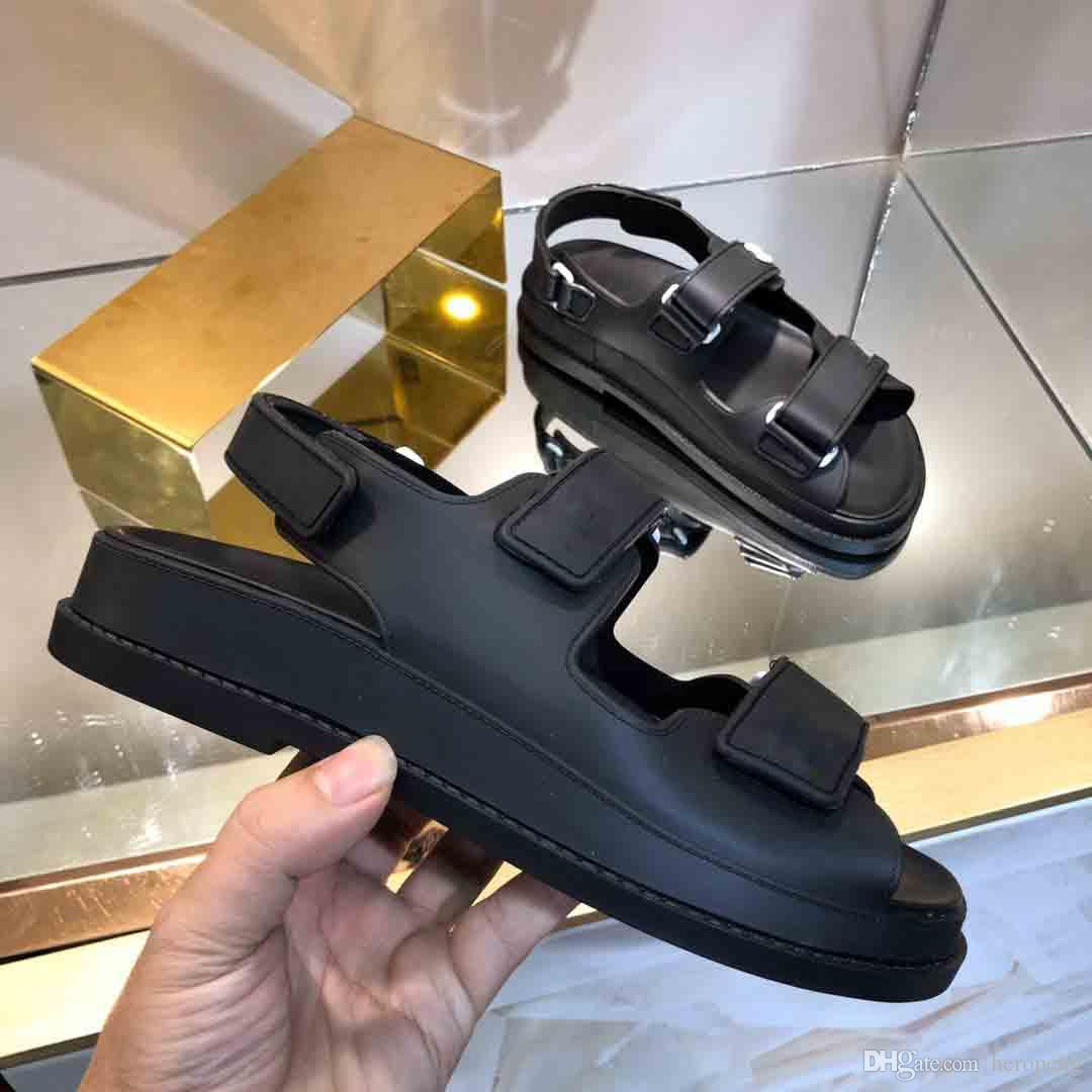 2021 Süper Sıcak Yeni Sandalet, Lüks Erkek Ve Kadın Sandalet, Tasarımcı Erkek Sandalet, Tasarımcı Kadın Sandal, Velcro Düz Sandalet