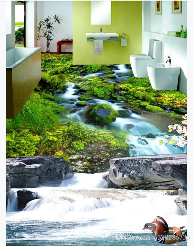 사용자 정의 3D PVC 자기 - 접착제 바닥 사진 벽화 벽지 3D 호손 크릭 자연 숲 통기성 스테레오 욕실 방수 층 페인팅