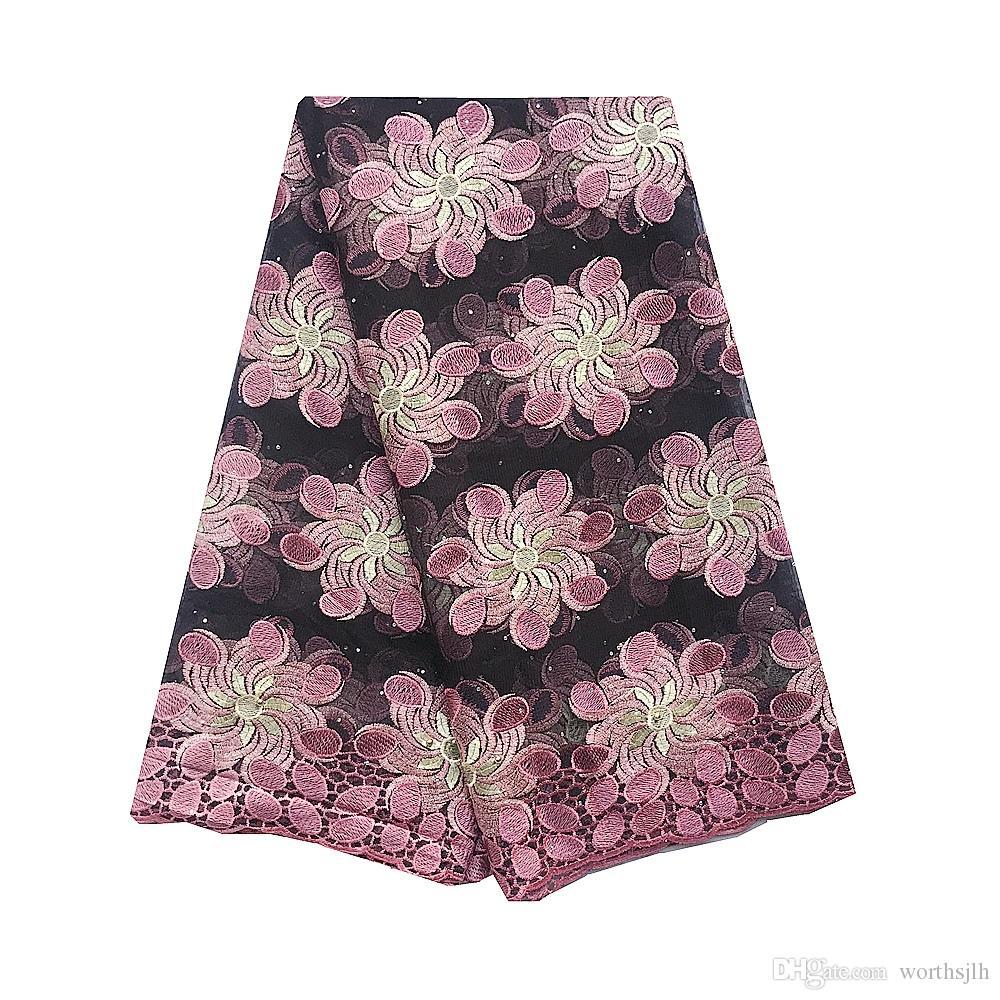 Los últimos nuevos cordones africanos 2020 cordón de tela rosa de alta calidad de tul de novia de encaje de Nigeria France nigeriana de tela de encaje 5Yards