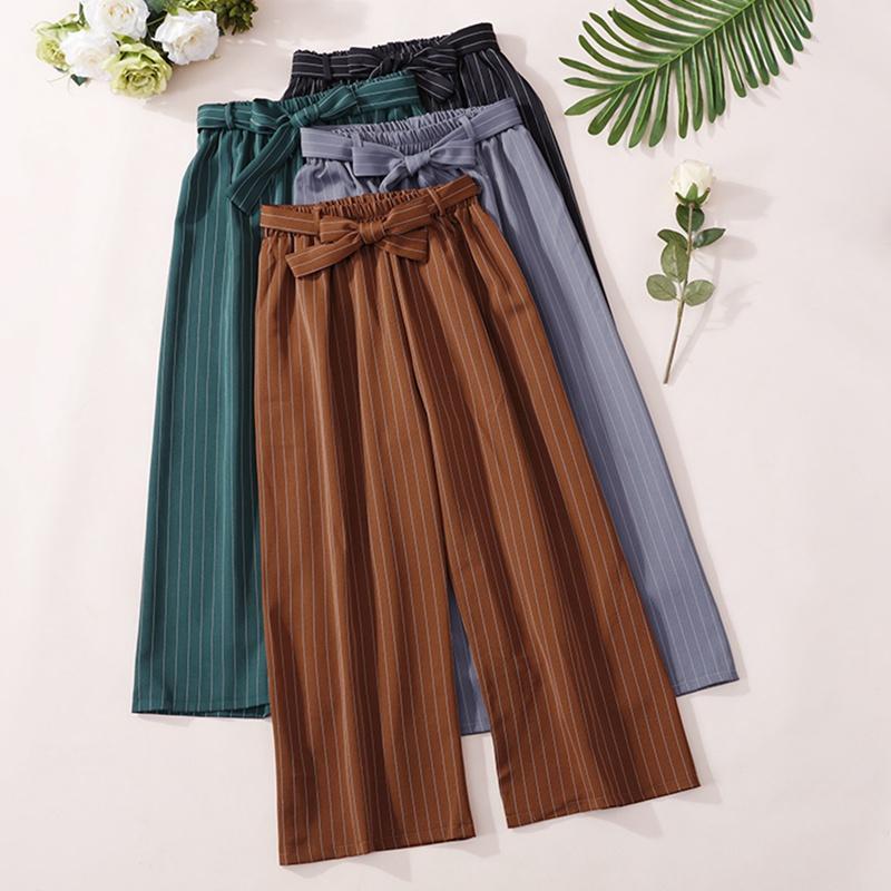 Kadın Pantolon Capris Kadınlar Kanatlar Yüksek Bel Geniş Bacak Yaz Gevşek Çizgili Pantolon Moda Düz Sonbahar Rahat