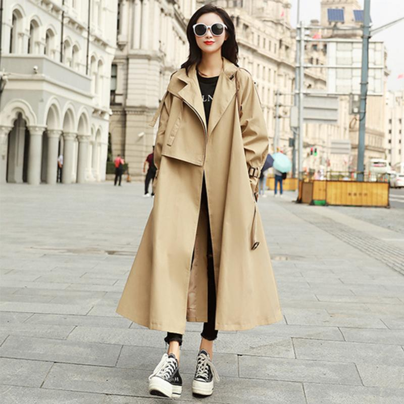 Fashion X Long Trench Coat Loose Fit, Fashionable Long Trench Coats