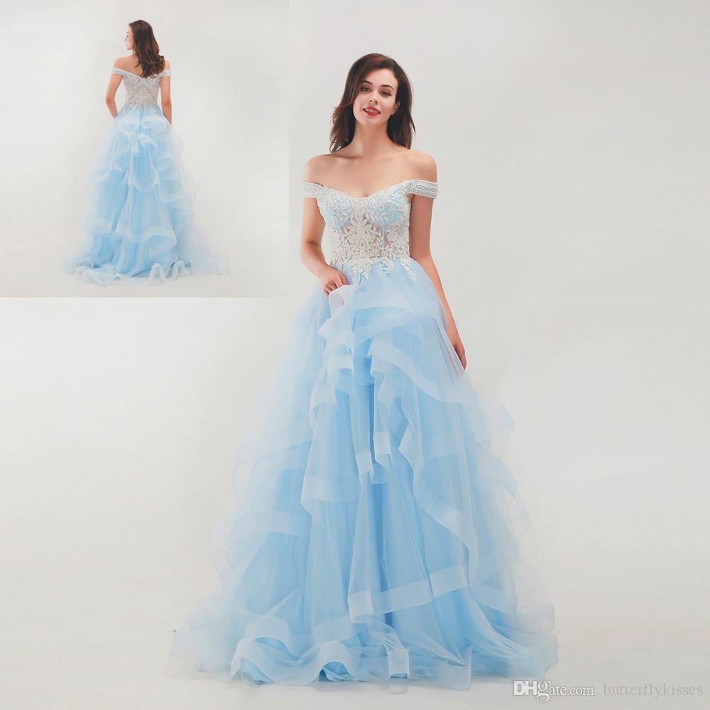 2019 New Blue Sky organza Ruffles Une ligne robes de soirée sexy Encolure Robes de bal Sweep personnalisée train blanc Robes de Appliques soir