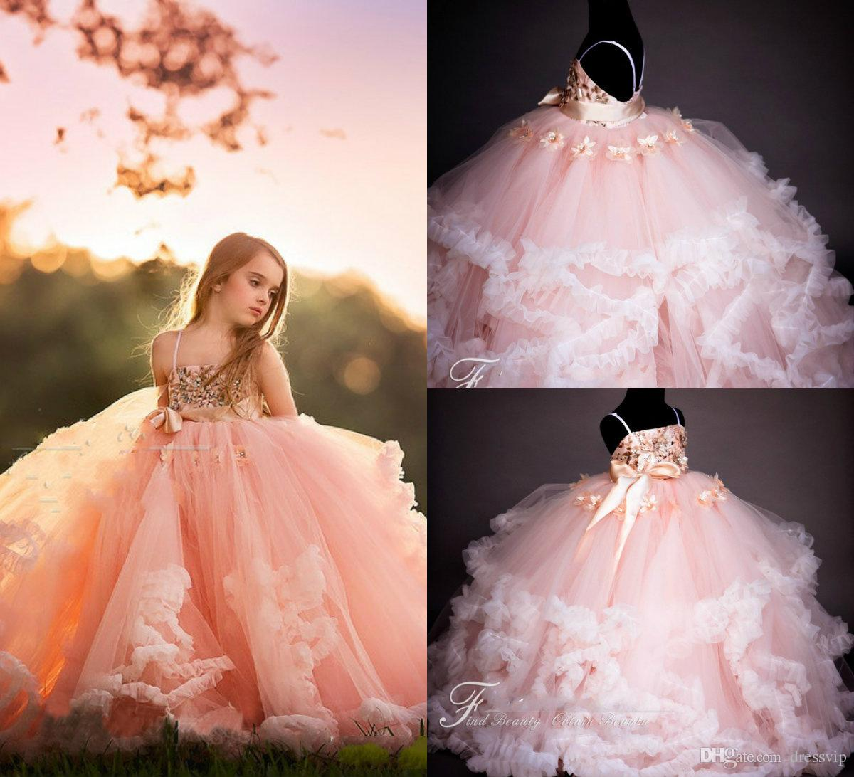 Light Pink Flower Girl Dresses Spaghetti Lace 3D Floral Appliques Sequins A Line Girls Pageant Dresses Birthday Party Kids Formal Gowns