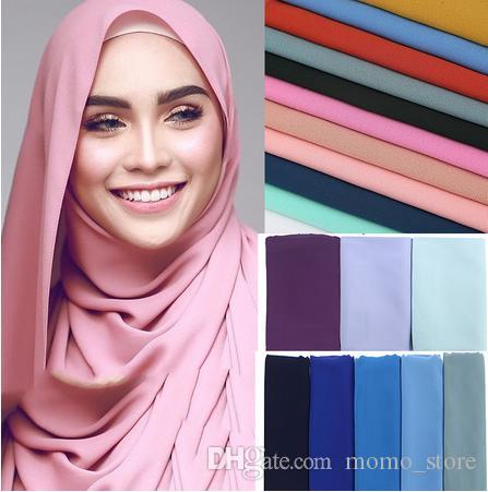 فقاعة الشيفون وشاح شالات كبيرة الحجم 180 * 75CM اثنين من الوجه عادي الجندي الألوان الحجاب مسلم الأوشحة / وشاح 47 الألوان