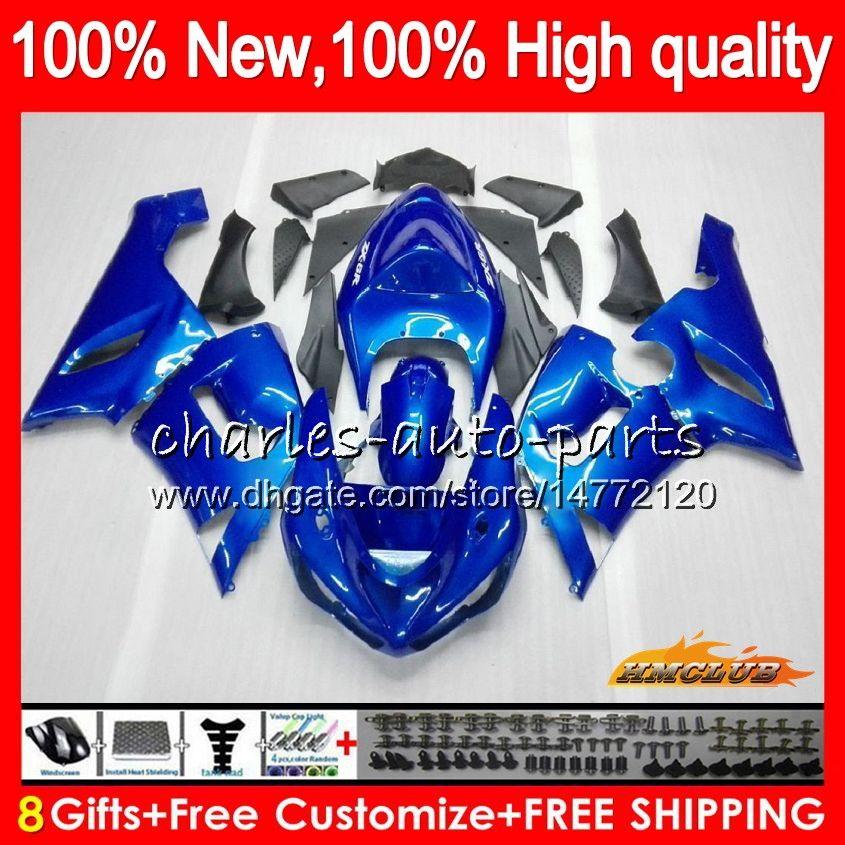 Cuerpo para Kawasaki ZX600 brillante azul de ZX 6R 600cc 6R ZX636 05 06 35HC.10 ZX636 600 CC ZX6R 05 06 ZX600 ZX 636 ZX6R 2005 2006 carenado kit