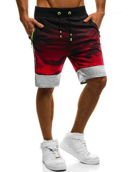 Pantalones cortos de la manera panelados Relajado Ropa holgada longitud de la rodilla Correr con cordón diseñador ocasional ropa de camuflaje Deportes