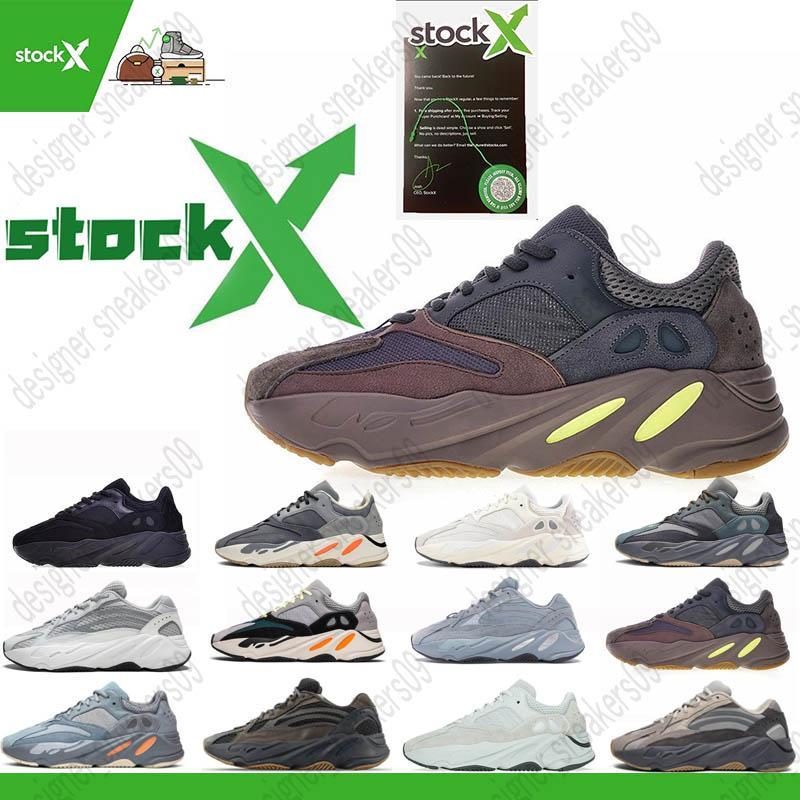 Kanye West Geode 700 INÉRCIA corredor da onda tênis para Mens Womens 700s V2 estática Sports Sneakers malva Sólidos Designer Grey Luxury Shoes