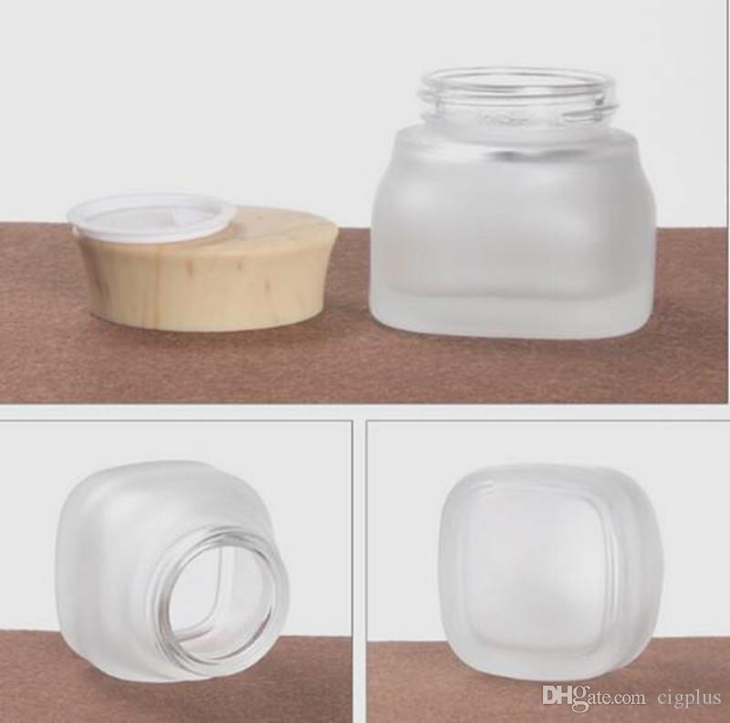 Vape 50G 50ml Vetro smerigliato bottiglia di plastica coperchi grano legno Vetro barattolo vuoto Crema Vasi imballaggio cosmetico vaso Contenitori
