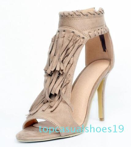 Sexy Sommer-Damen Fringe Pedant Sandale Bottines Stilett-Absatz-Troddel-Ankle Boots Peep Toe Zip Kleid Booties Schuhe T19 Covered