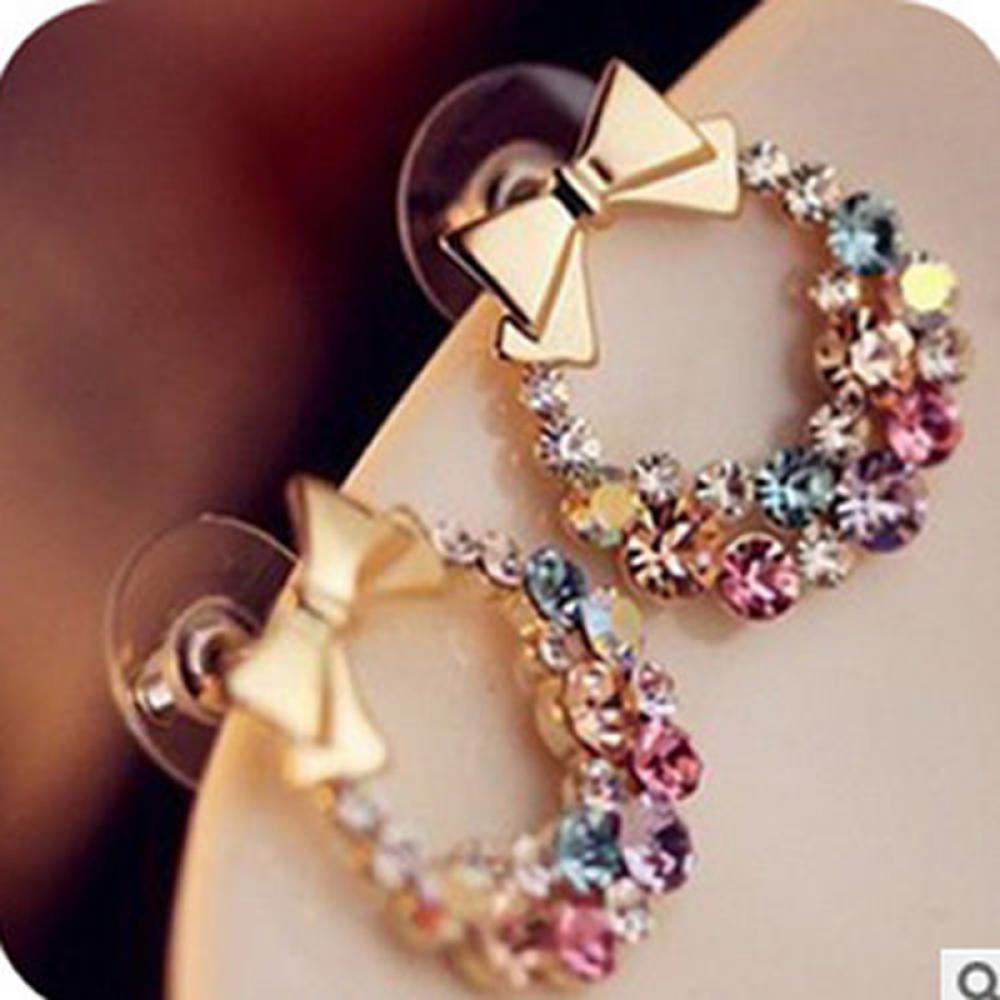 Бантом серьги ювелирные изделия для женщин красочные длинные серьги кулон свадьба серьги