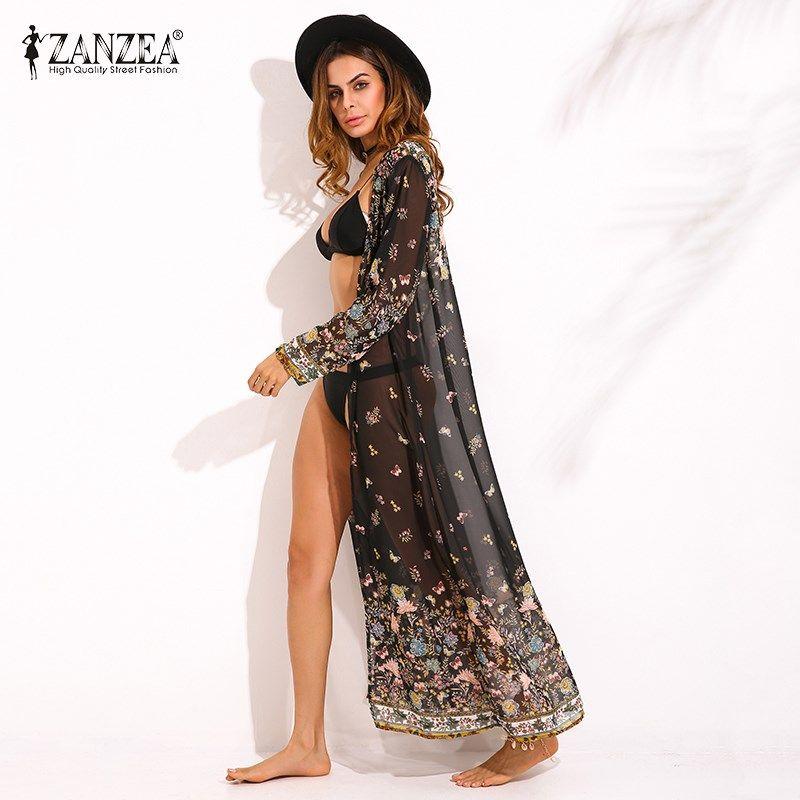 زانزيا Womens Chiffon Long Sleeve Floral Print Kimono Boho Ladies Summer Beach Cover Ups Maxi Long Tops Jacket Cardiagans 2017