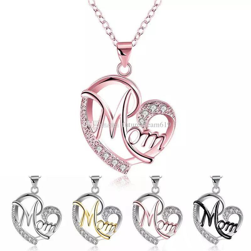 New Luxury MOM Collana Love White Rhinestone di cristallo Bicolor Heart Pendant Link chain Festa della mamma regalo Per le donne Gioielli di moda