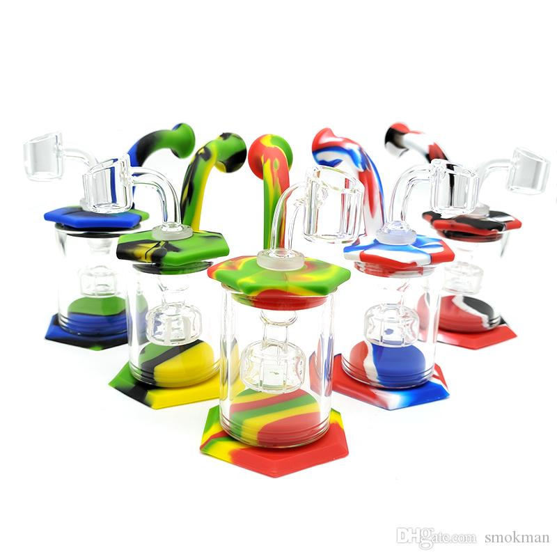 Hot selling octagonal glass smoke water pipe bong Silicone Bong with glass bowl silicone pipe small rigs glass bongs
