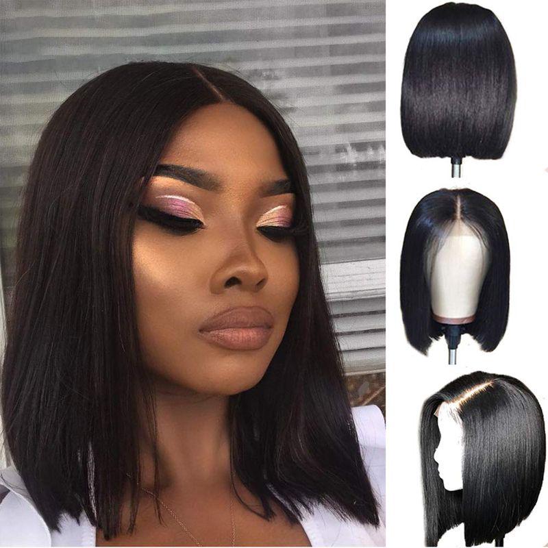 Sin cola corta Bob pelucas de pelo humano peluca de encaje completo 13x4 del frente del cordón del pelo sin procesar Remy 130% ~ 150% de densidad para las mujeres Shipping Negro