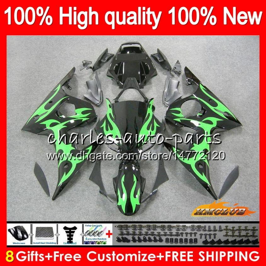 Body+8Gifts For YAMAHA YZF R6 S YZF600 YZFR6S 06 07 08 09 60HC.45 green flames YZF-600 YZF R6S 06-09 YZF-R6S 2006 2007 2008 2009 Fairing Kit