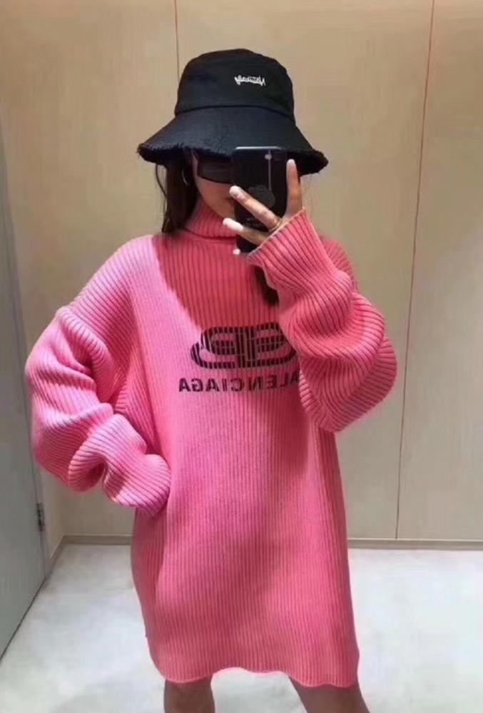 2020 donne pullover allentato lavorato a maglia a maniche lunghe di modo di autunno della stampa casuale Turtle Neck Sweater Top