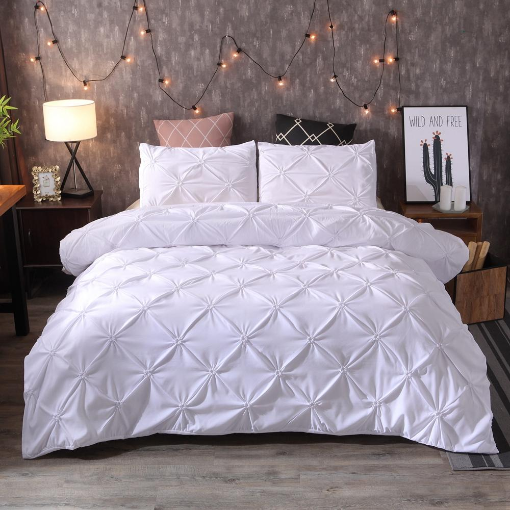 BEST.WENSD sólida e confortável colcha Adulto Bed Cama lençóis brancos / cinza Bed Tampa fronha US Duvet Set