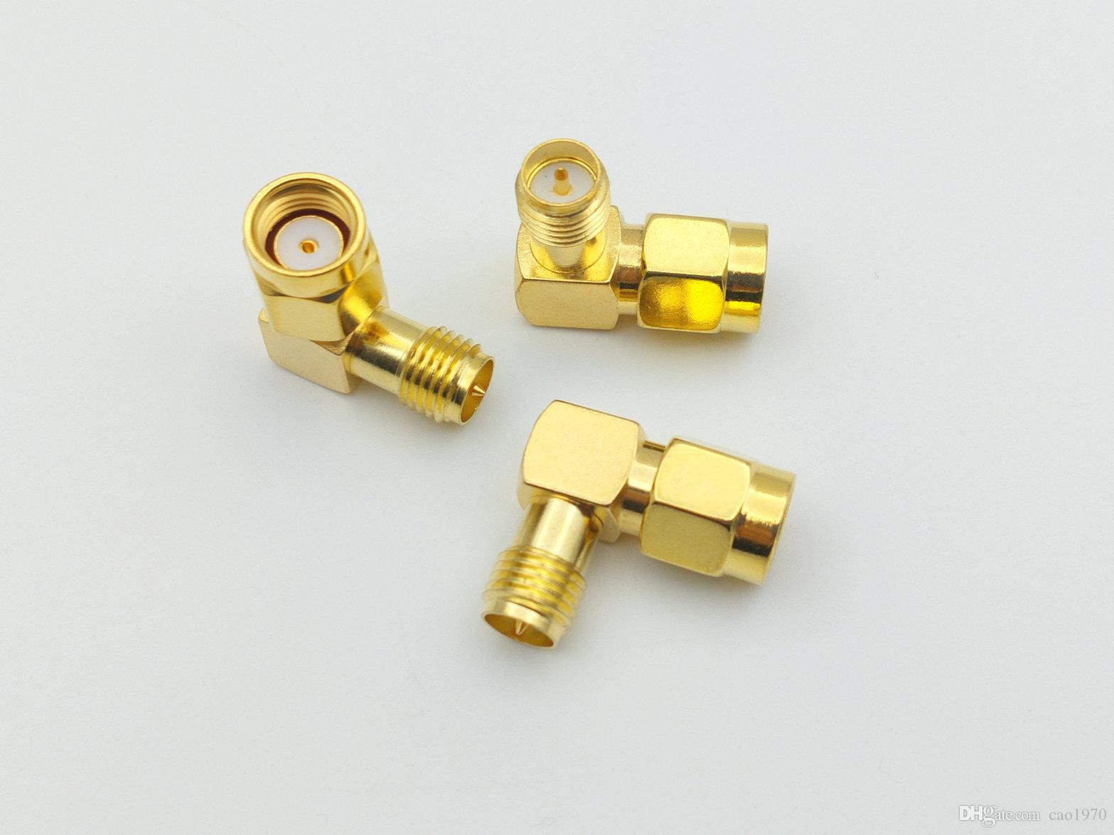 500PCS الذهب بلات RP-SMA مركز جاك الذكور إلى RP-SMA الإناث اليمنى بزاوية 90 درجة محول
