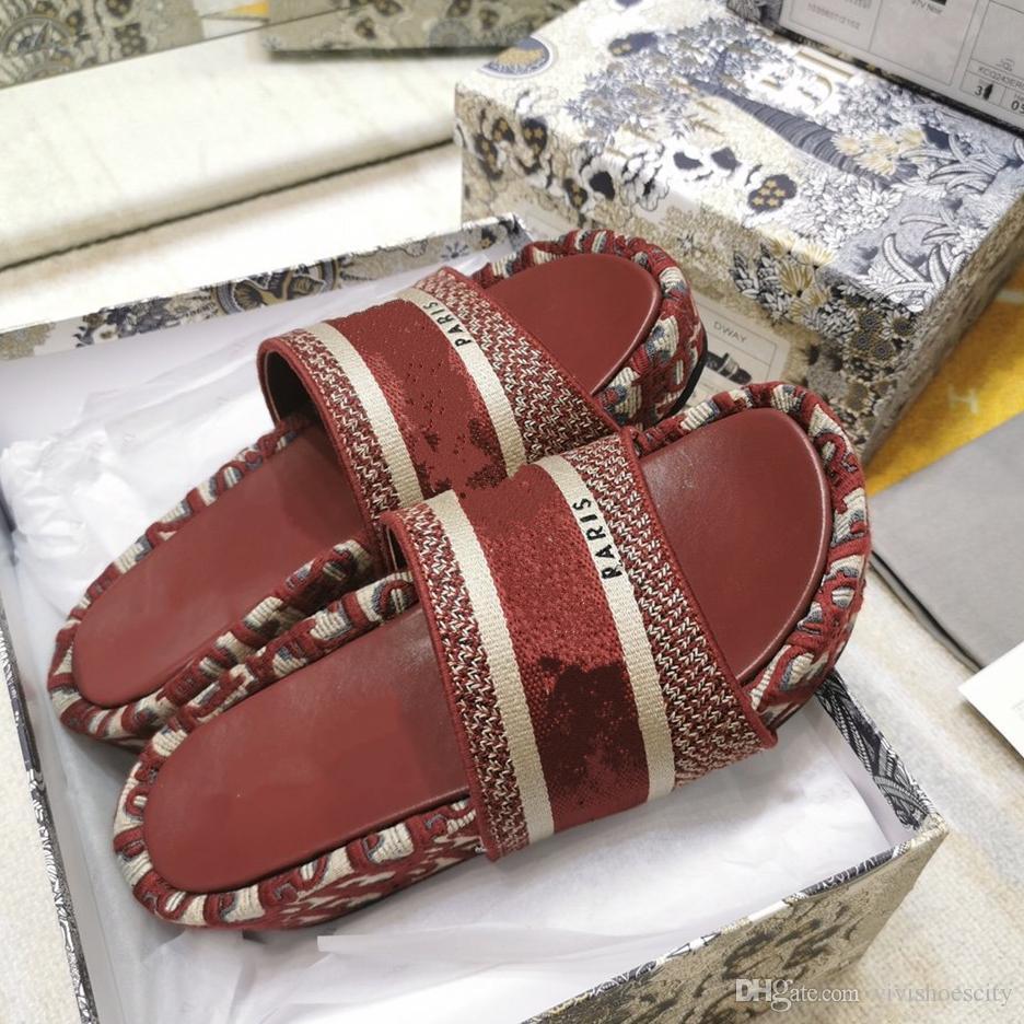 Burgundy Oblique Embroidered Cotton Platform Mules 5CM Wedge Sandals Slides Luxury Women Designer Shoes