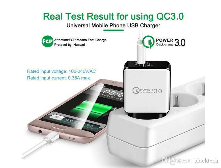QC 3.0 Быстрое зарядное устройство USB адаптер Quick Charge 5V 3A 9V 2A Путешествия Питание Быстрая зарядка США для iPhone х хз Samsung HUAWEI таблетки