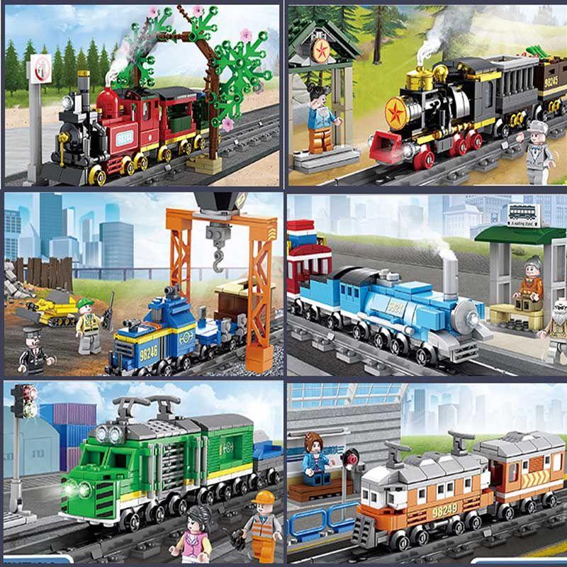 6 beliebtesten städtischen Zug Serie Güterzug Dampfmaschine Zug kleine Korn Baustein Puzzle Kinder Baustein Spielzeug