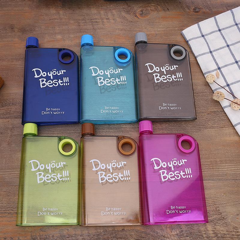 Ring Clear Water Bottle 13 Unzen Kreative Notebook Flasche Wasser im Freien bewegliche Sport-Wasserflasche Kessel Kunststoff-Hüfte-Flasche 7 Farben VT0448