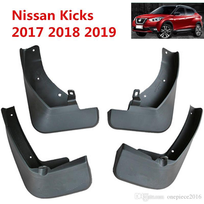 4PCS Plastic Black Splash Guard Mud Flaps Cover Trim for Nissan Kicks 2017-2018