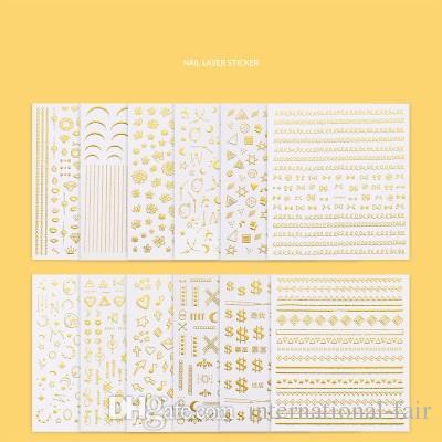 Горячие популярные INS Nail Art Наклейка Новолуние Звезды Звезды Би Полумесяца золотой свет лечение ногтей 3D этикета