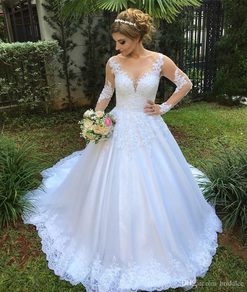 Vestido de Noiva Illusion Ballkleid Brautkleider 2020 Langarm Brautkleid Spitze Appliques Perlen Robe de Mariee Casamento