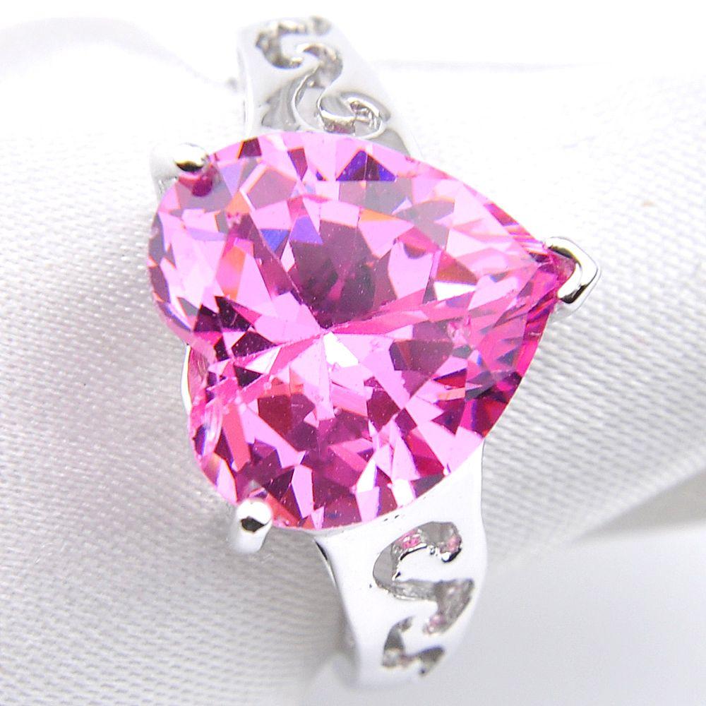 Luckyshine 6 sztuk / partia Walentynki Prezent Heart Pink Kunzite Cubic Cyrkonia Gemstone 925 Sterling Silver Women Lady Pierścienie