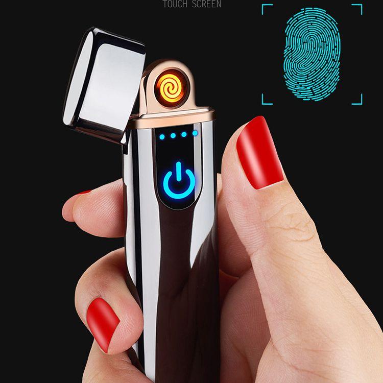 USB aufladbare elektrische Zigarettenanzünder Doppelseite Tungsten Heizspule slim Zigarrenanzünder berührungsempfindlichen Schalter Blau Gold-Silber-752