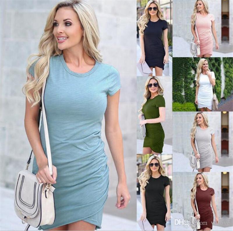 New Temperamental Dress Lady Women Clothes Slim Hip Dresses Short Sleeve Solid Asymmetrical Pleats Tight Shape