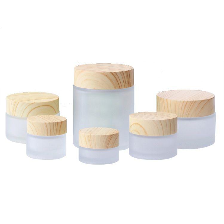 Pot en verre givré bouteilles de crème ronde Jars cosmétiques Bouteille Crème Visage main avec grain de bois Cap 5G-10g-15g-30g-100g-50 g