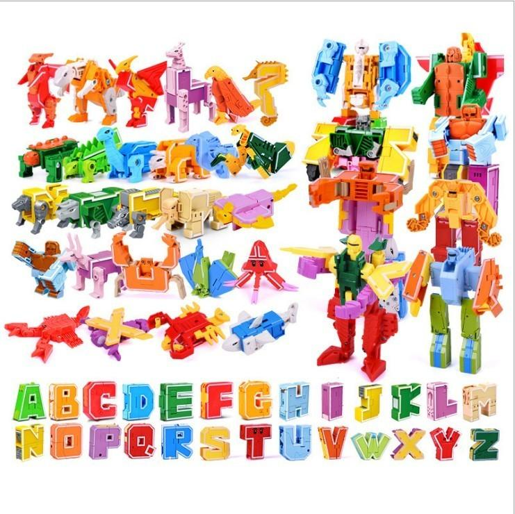 Gudi 26 English Letter Transformer Alphabet Robot Animal Creative Educational Action Figures Building Block Model Toy Kids Gifts Y190606