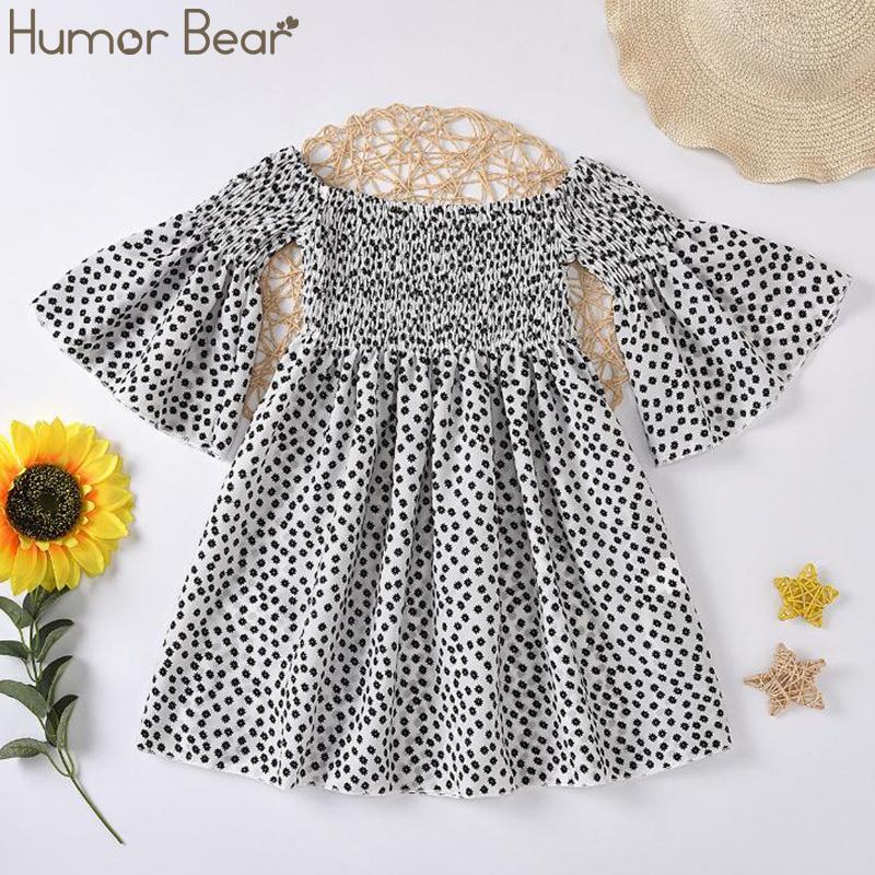 Humor Bär Sommer-Mädchen-Kleid Europa Die Vereinigten Staaten Cotton Kinder Kleidung Blumen Trompete Ärmel Kleider Kinderkleidung