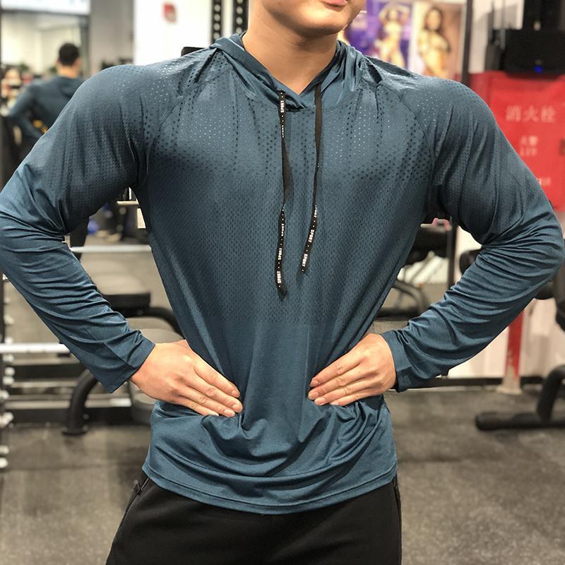 Mens manica lunga corsa Camicie Sport Quick Dry ospiti migliore abbigliamento fitness con cappuccio anti-sudore traspirante jogging sportivo con cappuccio