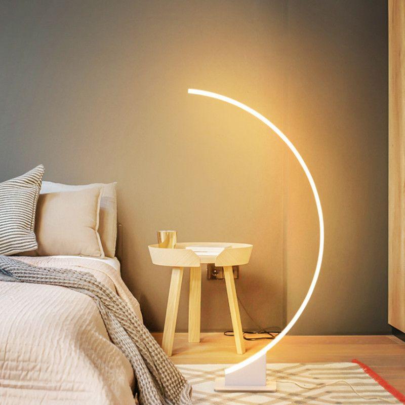 Basit Modern Yaratıcı Kişilik LED Dim Zemin Lambası Masa Lambası Yatak Odası Yatak LED Oturma Odası LED Göz Koruma Zemin Lambaları